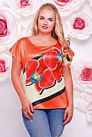 Блузка летняя с цветочным принтом, батал с 50- 56 размер, фото 1