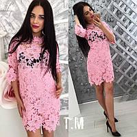 Платье женское из хлопкового кружева, рукав 3/4 розовое,магазин стильной одежды
