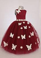 Детское вечернее  нарядное платье  в пол с бабочками