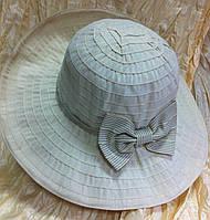 Шляпа летняя с бантом в горошек, средние поля