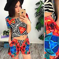 Женский модный яркий костюм с шортами (2 цвета)