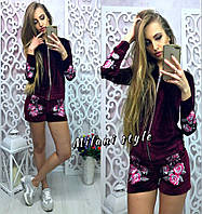 Костюм модный велюровый с вышивкой кофта и шорты разные цвета Dmil418