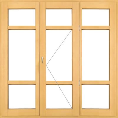 Трехстворчатые высокие деревянные окна