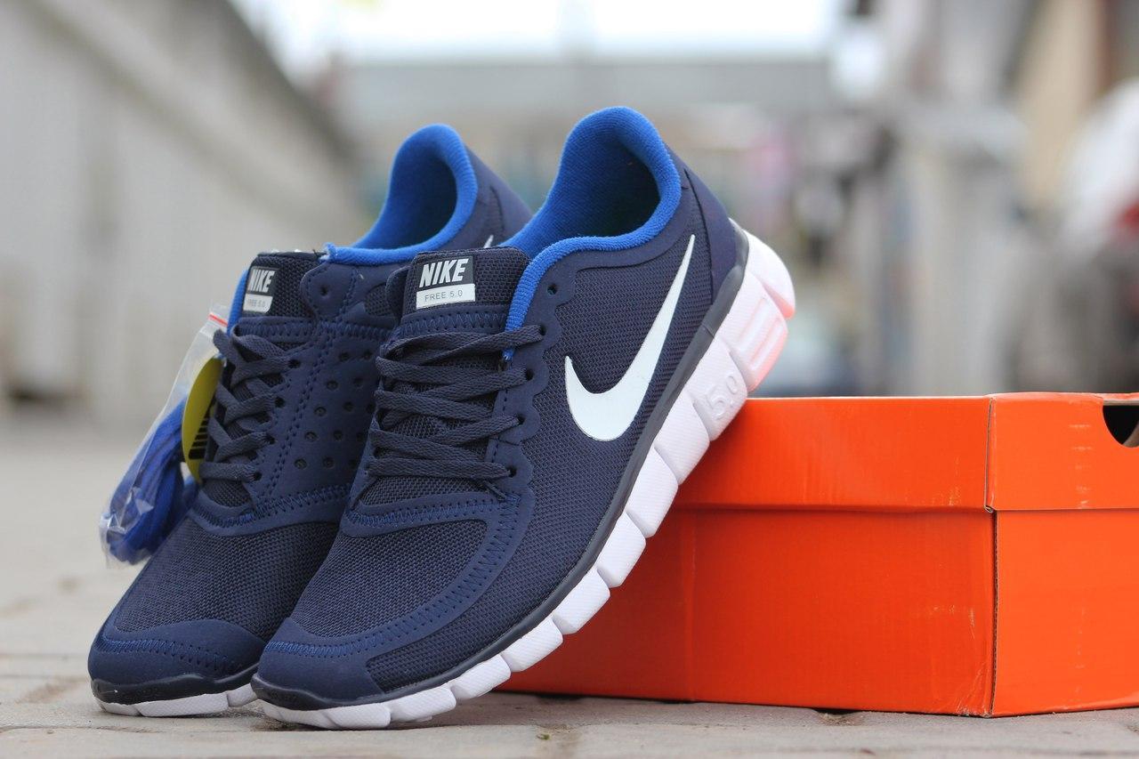 34a98e286b6d Кроссовки летние Nike Free Run 5.0 темно синие с голубым - Интернет-магазин  Дом Обуви