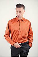 Терракотовая атласная рубашка