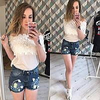 Джинсовые шорты женские с высокой посадкой Пайетки,магазин одежды