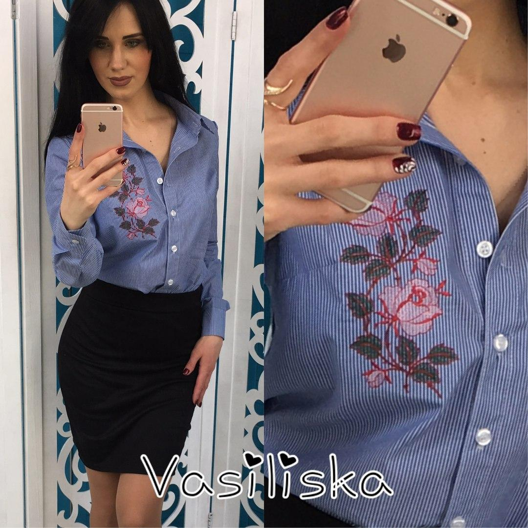 5aebe34f36f Рубашка женская с вышивкой в полоску хлопок 2 цвета RV99 недорого ...