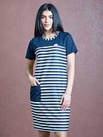 Женское платье прямого силуэта с короткими рукавами