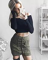 Юбка женская замшевая на шнуровке премиум хаки,магазин одежды