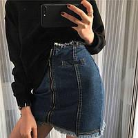 Юбка женская джинсовая с молнией спереди,магазин женской одежды