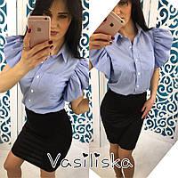 Рубашка модная летняя с рукавом-воланом хлопок 2 цвета RV100