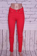 Женские джинсы с высокой талией красного цвета с дырками на коленках 26-30 размер.