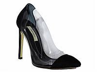 Женские замшевые туфли на каблуке c силиконовыми вставками