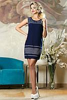Синее платье прямого кроя