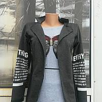 Молодежный весенне летний женский кофта - пиджак из натурального пенье