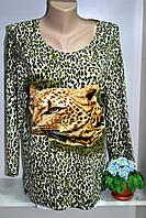 Женский трикотажный блузон с тигровым принтом, фото 1