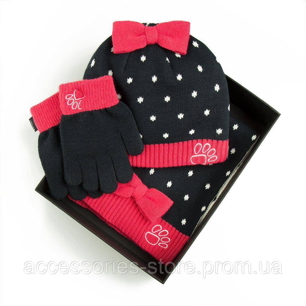 Детский набор из шапки, шарфа и перчаток Jaguar Children Winter Set, Pink/Dark Blue