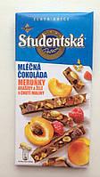 Шоколад Studentska pecet c арахисом, кусочками абрикоса и малины Чехия 180г