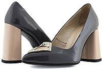 Лаковые женские туфли на широком каблуке. Натуральная кожа.