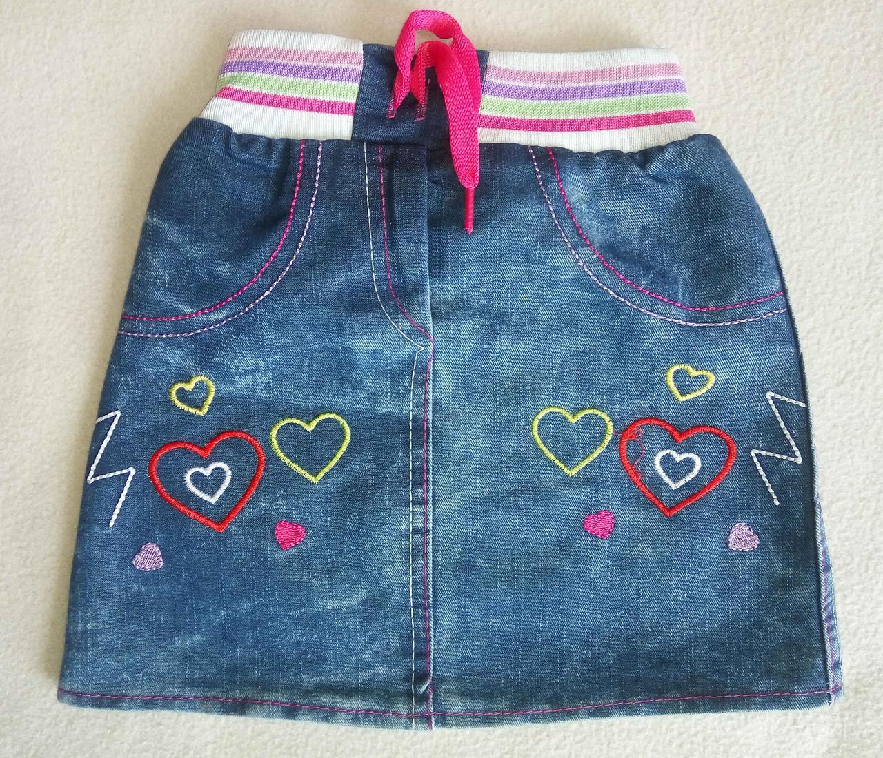 Детская джинсовая юбка для девочек 1-4 года