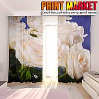 Фотошторы белые розы на фоне неба