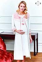 Халат с ночной сорочкой для беременных (элитная серия) Pelin №7401