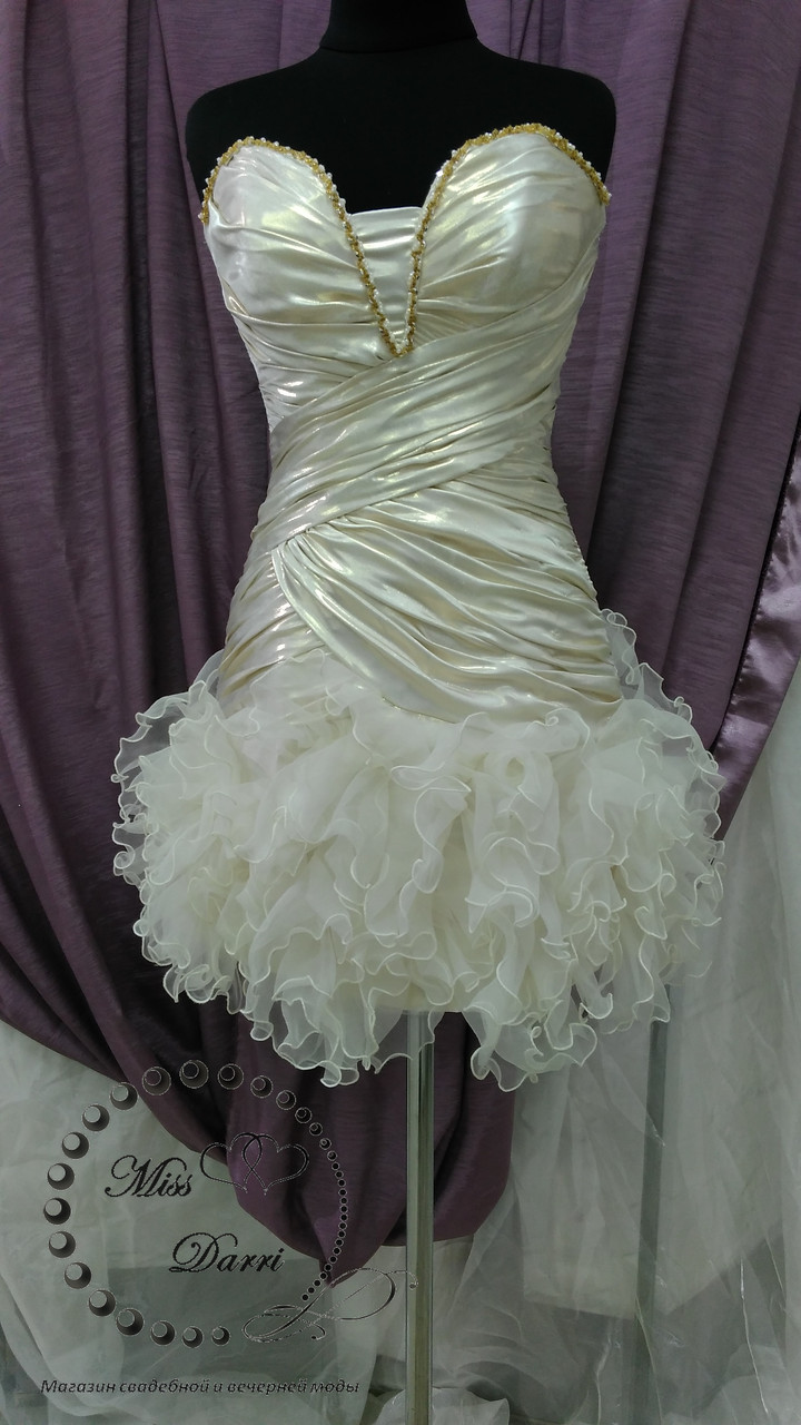 8f91111c38c Коктейльное вечернее платье короткое бежевое с рюшами - Магазин свадебной и вечерней  моды Miss Darri в