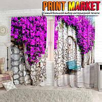 Фотошторы цветы на каменной стене