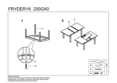 Стол  раскладной Fryderyk 160/90(темный орех) (Halmar), фото 2