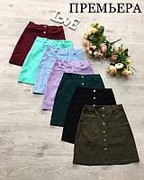 Женская стильная джинсовая юбка на кнопках (7 цветов)