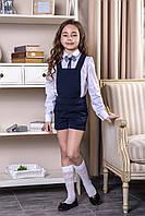 """Блуза школьная белая с бантом-брошью в полоску """"Grace"""""""