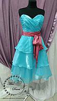 Коктейльное вечернее платье голубое