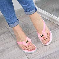 Шлепанцы женские силиконовые Бантик розовые, шлепки