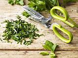 Ножницы для нарезки зелени с 10 лезвиями шеткой для очистки 22 см , фото 10