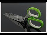 Ножницы для нарезки зелени с 10 лезвиями шеткой для очистки 22 см , фото 2