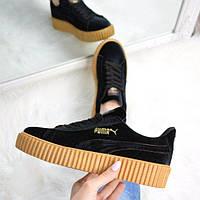 Кроссовки женские криперы Puma Rihanna черные велюр, спортивная обувь