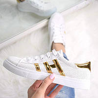 Кроссовки женские Starla белые с золотом, спортивная обувь