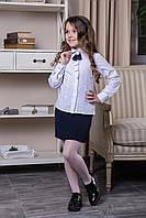 """Блуза белая школьная с брошью """"Naomi"""""""