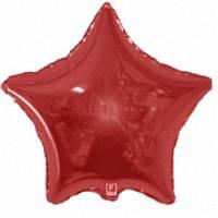 """Фольгированный шар Звезда 18"""" 46 см красная металлик"""