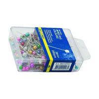 Булавки цветные 34мм, 100 шт., пластиковый контейнер