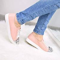 Слипоны кеды женские Miu с камнями пудра, кеды женские осенняя обувь