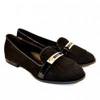 Замшевые туфли в оригинальном дизайне .