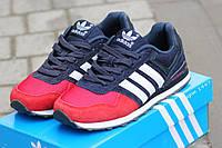 Кроссовки женские Adidas замшевые красные с синим (Реплика ААА+), фото 1