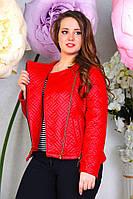 Модная короткая куртка-косуха эко кожа больших размеров