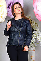 Модная короткая куртка-косуха эко кожа больших размеров 50, 52