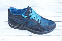 Летние мужские кроссовки, замша+сетка, А31, синий