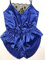 Домашний женский комплект майка и шорты из атласа с кружевом