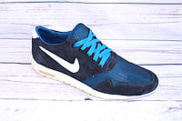 Мужские летние кроссовки, замша+сетка, А33, синий