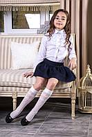 """Блуза белая школьная с пристегным кружевным жабо и брошью """"Stefanie"""""""