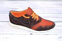 Мужские летние кроссовки, замша+сетка, А33, оранжевый